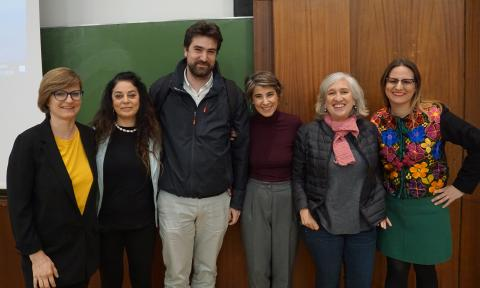 Hanna Jarzabek, Inmaculada Salinas, Alejandro, Mónica Carabias, Nancy Friedemann, y Antonia Blanco