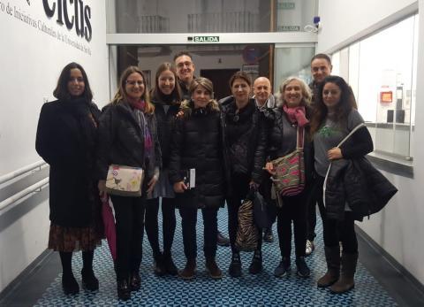 Todo el equipo de trabajo y amigos artistas. Día 22 de noviembre de 2019. Tercera sesión del seminario en Sevilla