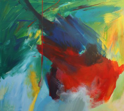 """2009, """"Tropicalia"""", 170 x 190 cm, acrílico y ceras sobre tabla"""