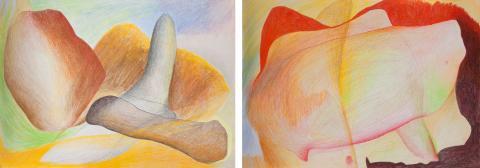 Dibujos expuestos, de la serie Sensualidades