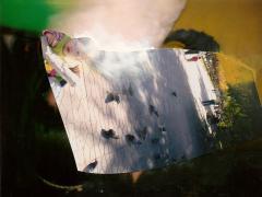 """""""Sobre el paisaje #23"""", ceras sobre collage fotográfico, 10 x 13,5 cm, 2010"""