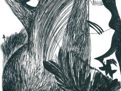 """#24"", serie ""Universos paralelos"", tinta negra sobre papel, 29 x 20 cm, 2016"