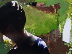 """""""Lolita Baños"""", acrílico y ceras sobre collage fotográfico, 10 x 15 cm, 2010"""