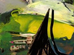 """""""Sobre el paisaje #17"""", acrílico y ceras sobre collage fotográfico, 10 x 12,7 cm, 2010"""