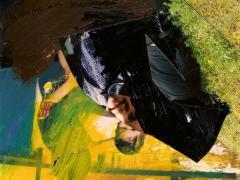 """""""Sobre el paisaje #13"""", acrílico y ceras sobre collage fotográfico, 10 x 15 cm, 2010"""