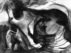 """""""#22"""", serie """"La playa"""", grafito sobre papel, 20 x 29 cm, 2008"""