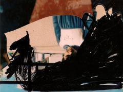 """""""Sobre el paisaje #21"""", tinta negra y ceras sobre collage fotográfico, 10 x 13 cm, 2010"""