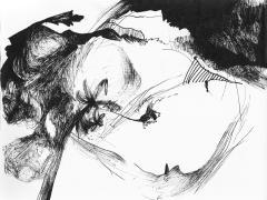 """""""Paisaje segoviano"""", tinta negra sobre papel, 17 x 21,5 cm, 2009"""