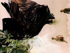 """""""Sobre el paisaje #22"""", tinta negra y ceras sobre collage fotográfico, 10 x 14,5 cm, 2010"""