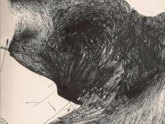 """""""#7"""", serie """"Relieves dibujados"""", tinta y collage sobre papel, 29 x 20 cm, 2010"""