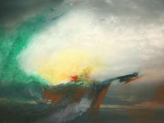 """""""Alcalá"""", acrílico y ceras sobre fotografía, 13 x 18 cm, 2009"""