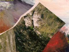 """""""Sobre el paisaje #18"""", acrílico y ceras sobre collage fotográfico, 10,2 x 12,8 cm, 2009"""