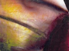 """""""Sobre el paisaje #12"""", ceras sobre fotografía, 13,5 x 10,5 cm, 2009"""