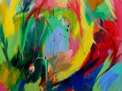 """""""Delirio estival"""", acrílico y collage sobre tabla, 192 x 172 cm, 2017"""